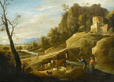 David Teniers II(Antwerp 1610 - Brussels 1690), Landscape with a Shepherd and a Shepherdess and their Flock along a Path