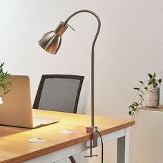 Lampa z klipsem Triska, elastyczna, nikiel, satyna   Lampy.pl A Shelf, Shelves, Desk Lamp, Table Lamp, Lighting Solutions, Light Fittings, Nickel Finish, Smart Home, Plank