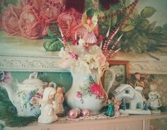 Vintage Christmas, Shabby Pink Roses....photo by Julie Cruzan