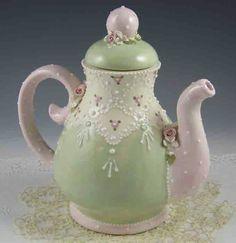 Pink & Green Lace Teapot
