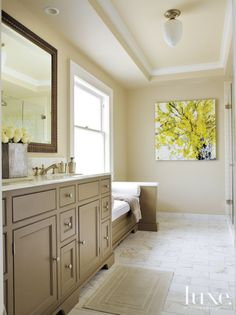 Neutral Craftsman Master Bath with greige cabinets Neutral Bathroom Decor, Taupe Walls, Luxe Interiors, Yellow Bathrooms, Taupe Kitchen Cabinets, Relaxation Room, Interior, Beautiful Bathrooms, Bathroom Design