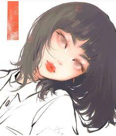 Image about girl in ♡ by Nishi ♡ on We Heart It digital art nose - Digital Art Art And Illustration, Anime Art Girl, Manga Art, Anime Girl Short Hair, Pretty Art, Cute Art, Aesthetic Art, Aesthetic Anime, Desenhos Love