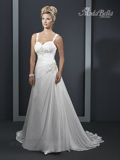 Marys Silky Chiffon Sweetheart neckline with a ruched bodice adorned with a rhinestone, crystal, and pearl applique in the center of the bodice. Applique decorates the left hip flowing into a full A-line skirt. Comes with detachable lace sleeves. Beautiful Wedding Gowns, Bridal Wedding Dresses, Wedding Attire, Keyhole Back Wedding Dress, One Shoulder Wedding Dress, Mary's Bridal, A Line Bridal Gowns, Dressy Dresses, Chiffon Dress