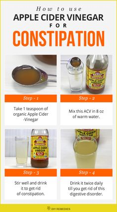How to use Apple Cider Vinegar for Constipation  Diluted ACV is very effective in moving the things in your intestine. So, drink ACV till you get relief from the problem.  #DIYRemedies