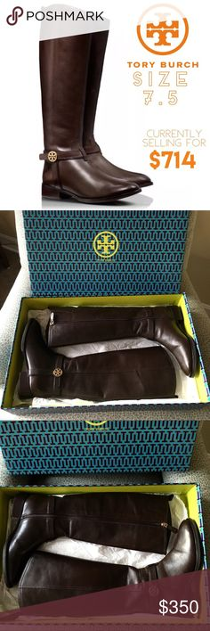 "Tory Burch Riding Boot Bristol Leather Tory Burch brings you the ultimate versatility with this medallion-adorned riding boot.     * Smooth leather with golden hardware.     * Round toe; tonal topstitching.     * Leather harness strap with double-T medallion.     * Full inside zip for ease of dress.     * 15 1/2""H shaft; 15"" circumference.     * 1 1/2"" stacked heel.     * Padded footbed with logo fabric lining.      * Leather outsole with rubber inset.     * ""Bristol"" is made in Brazil  Size…"