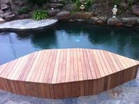 Deck Seating By Pool. Landscaper Pakenham - Ground Up Garden Renovators www.gardenrenovators.com.au Deck Seating, Deck With Pergola, Decks, Melbourne, Landscape, Garden, Outdoor Decor, Home Decor, Garten