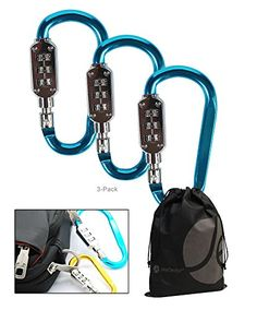 Large Blue 3 Dial Carabiner Style Metal Lock for Luggage Bags Lockers 3 Pack -- You can get additional details at the image link.