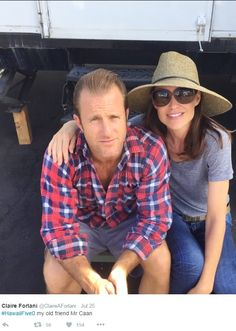 ♥♥♥  Claire Forlani (@ClaireAForlani) with Scott Caan BTS H50