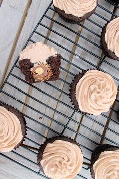 Ferrero Rocher Stuffed Chocolate Cupcakes with Nutella Buttercream