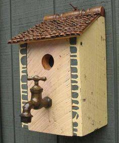 700D - Salvage birdhouse with antique faucet perch Recycledbirdhouses.com
