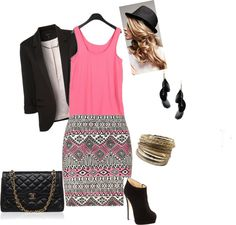 """pink n black"" by avap-27 on Polyvore"