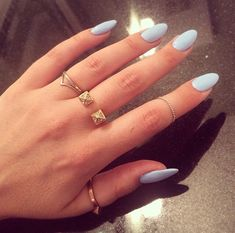 Light blue nails.