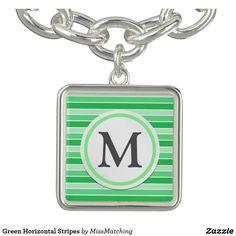 Green Horizontal Stripes Charm Bracelet