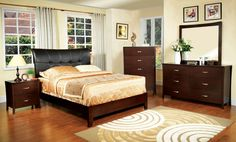 Midland 4Pcs Queen Bedroom Set CM7610(Queen Bed,Night Stand,Dresser,Mirror)Go natural with this earthy bedroom set, with simple lines and brown cherry finish. The contemporary lines of this bedroom set are accented with a unique flared headboard. The matching chest, dresser and night stand have the same understated design with a little flair, having silver pull handles.Features:Contemporary StyleCurved EdgeFlared Headboard in 2 DesignsSolid Wood, Wood Veneer, OthersBrown Cherry…