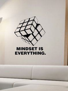 Rubik's Cube Wall Decal mindset is everything vinyl Sticker Art Decor Bedroom Design Mural interior design Science Education Art educational by StateOfTheWall on Etsy https://www.etsy.com/listing/250469920/rubiks-cube-wall-decal-mindset-is