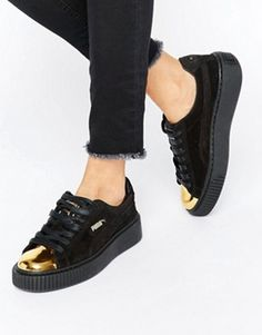 Puma Suede Platform Trainers In Black With Gold Toe Cap