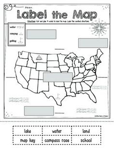 Map Skills for Kindergarten or First Grade. Social Studies print and go sheet labeling compose rose, land, ocean and map key. $