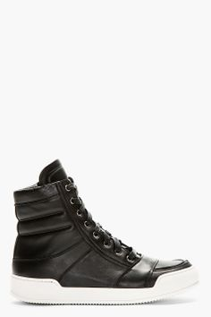 BALMAIN Black Hi-Top Sneakers