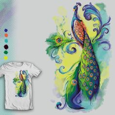 """Flow"" peacock watercolor shirt design, up for voting at shirt.woot through 7/17/14"