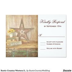 Rustic Country Western Star Wood Wedding RSVP Card