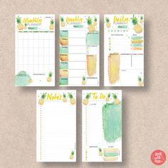 Get super-organized with this fantastic 5 pack of tropical pineapple sweetness for your Personal size planner. Download the PDF planner printable, featuring Monthly Planner, Weekly Schedule, Daily Journal, To Do List and Notes. Check out the rest of our range at http://www.etsy.com/shop/stickwithsam | Printable Planner | Printables