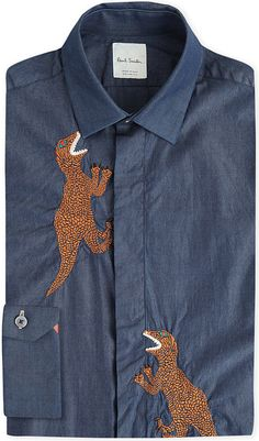 PAUL SMITH Dinosaur-embroidered regular-fit chambray shirt