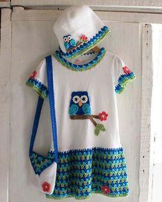 Maggie's Crochet · Owl T-Shirt Dress, Hat and Purse Crochet Pattern