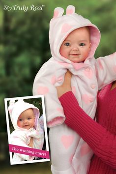 FIRST So Truly Real® baby doll inspired by Facebook® contest winner. RealTouch vinyl, weighted to feel like a real baby. Fully poseable.