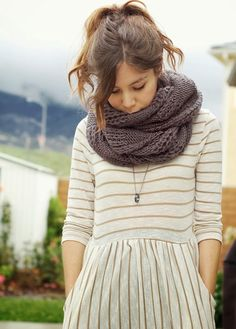 Striped Knit Dress And Big Cozy Infinity Scarf