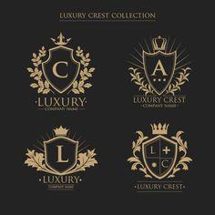 Logos collection of crests with initials in vintage style Free Vector Vintage Logo, Vintage Stil, Style Vintage, Luxury Logo Design, Branding Design, Alphabet Logo, Emblem Logo, Royal Logo, Etiquette Vintage