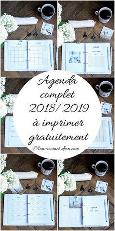 agenda 2018 2019 à imprimer gratuitement bullet journal ou planner - Planner 2018, Agenda Planner, Happy Planner, Planner Journal, Diy Agenda, Filofax, Planner Organisation, Organization Bullet Journal, Bullet Journal Printables