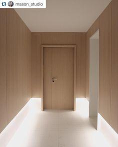from mason studio. Hotel Hallway, Hotel Corridor, Wood Interiors, Office Interiors, Interior Architecture, Interior And Exterior, Wall Design, House Design, Corridor Lighting