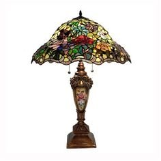 Warehouse of Tiffany 2115+BB553 2 Light TiffanyStyle Table Lamp, Bronze