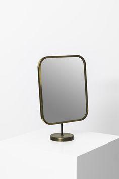 Josef Frank; Brass and Glass Table Mirror for Nordiska Kompaniet, 1950s. Via Studio Schalling.