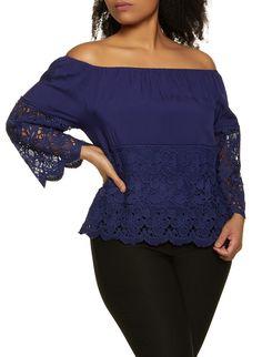 Plus Size Crochet Off the Shoulder Peasant Top - Blue - Size Off Shoulder Blouse, Off The Shoulder, Rainbow Store, Peasant Tops, Online Purchase, Shapewear, Plus Size, Lingerie, Fashion Outfits