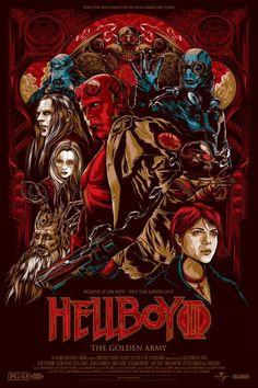 Ken Taylor ilustrações poster cartaz filmes silkscreen Hellboy II - The Golden Army (Hellboy II - O Exército Dourado)