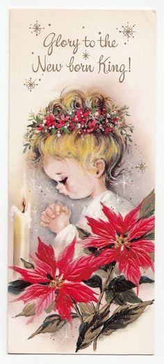Vintage Greeting Card Christmas Little Girl Praying Poinsettias Mid-Century