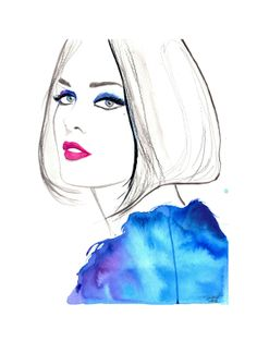 Original watercolor, pen, and charcoal fashion illustration by Jessica Durrant titled, Modern Vintage via Etsy