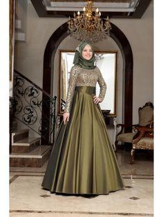 Al Marah Drapeli Abiye Haki Hijab Prom Dress, Hijab Gown, Hijab Evening Dress, Muslim Wedding Dresses, Muslim Dress, Abaya Fashion, Fashion Dresses, Hijab Sport, Mode Abaya