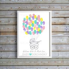 Baby Shower thumbprint Guest book Antique by MelissaWynneDesigns