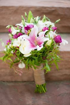 Bridal bouqet wtih pinks, whites, & green from Perfect Petal, Colby Elizabeth Photography
