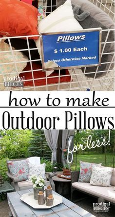 diy outdoor projects Want to spruce up your outdoor decor, but lack a big budget? Let me show you out to create these diy outdoor pillows for next to nothing. Budget Patio, Diy Patio, Diy On A Budget, Easy Budget, Outdoor Patio Ideas On A Budget Diy, Outdoor Decorations, Deck Decorating Ideas On A Budget, Decor Ideas, Fun Ideas