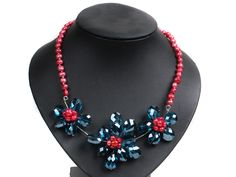 Gorgeous Party Style Natural Rose Red Freshwater Pearl Blue Crystal Flower Bib Necklace