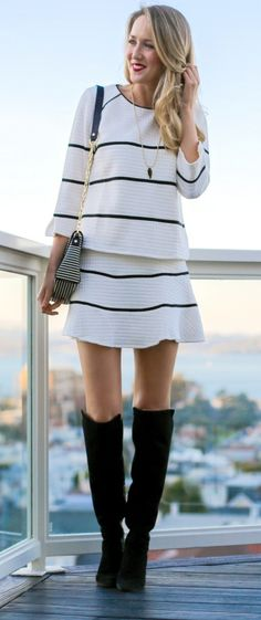 black and white quilted matching top and skirt, over the knee suede boots, striped tory burch hand bag, onyx pendant necklace
