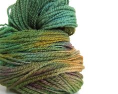 This again is handspun yarn, but this time it is handspun and plied (two strands together) and then hand dyed after the spinning process.