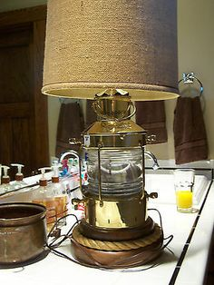 Vtg 1960s LAMP Ankerlicht Brass Ship Anchor Lights Candle Glow Rope Base Table