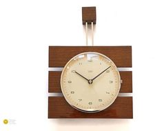 Mid Century DIEHL Wall Clock - 60s Nelson Modern Atomic Danish Germany Wood Junghans Space Age mcm 1960s