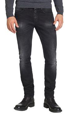Jeansy - spodnie dżinsowe męskie, w kolorze czarnym, z przetarciami.