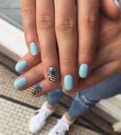 sky blue pineapple nails - The most beautiful nail designs Bright Summer Nails, Cute Summer Nails, Spring Nails, Summer Vacation Nails, Summer Beach Nails, Vacation Nail Art, Bright Coral Nails, Summer Nail Art, Summer Holiday Nails