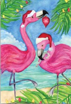 Festive Christmas Flamingos decorative house flag - flagsrus